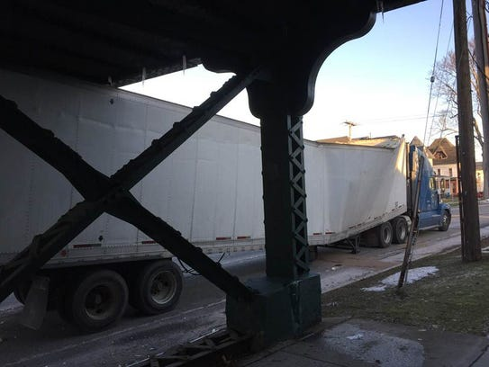 """Clearance under the railroad bridge is about 11'10"""""""