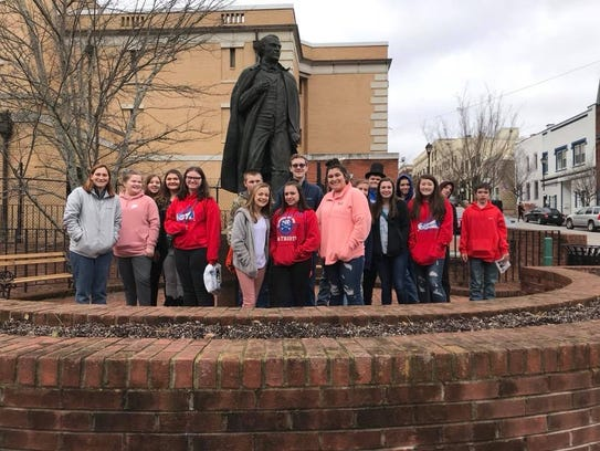 A group of 8th graders at the Andrew Johnson National