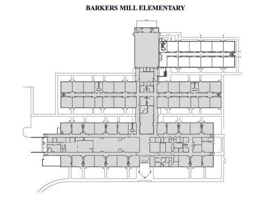 Aerial blueprint of Barkers Mill Elementary School, with expansion areas shown.