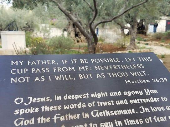 Jesus' prayer in the Garden of Gethsemane.