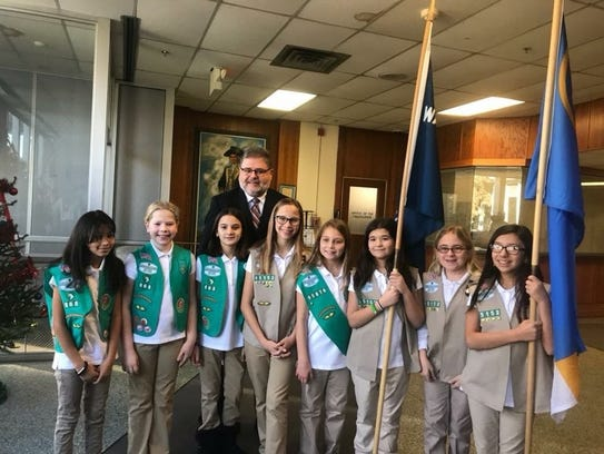 Wayne Girl Scouts Color Guard, proudly represented