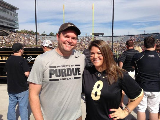 Tim O'Connor (left) grew up a Purdue fan in Bloomington,
