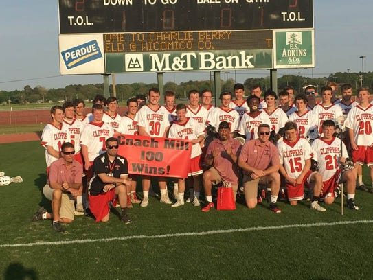 James M. Bennett boys lacrosse coach Milt Rodriguez captured his 100th career win on Friday, May 4, 2018