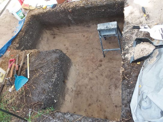 A look inside the pit at the Ais Village Trail archaeological