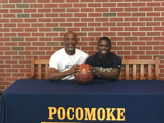 Tyree Thornton and Pocomoke head coach Derrick Fooks