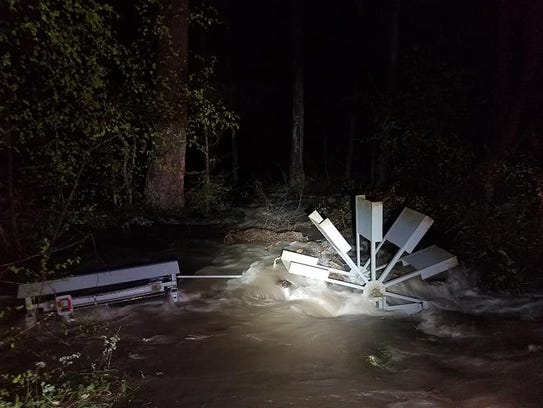 Water rushes through Stonewall Creek near Lincoln late