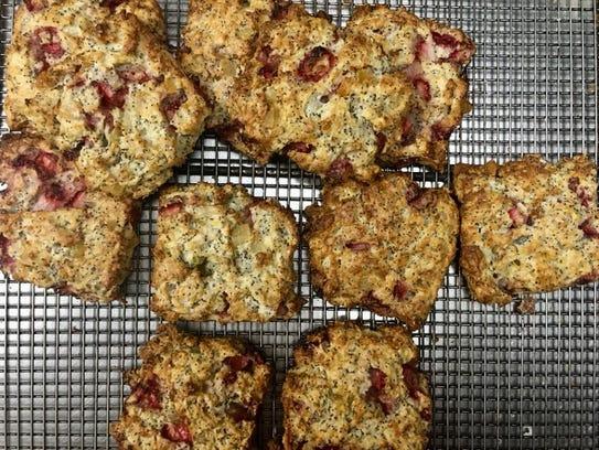 Strawberry poppyseed scones at Green Apron Bakery.