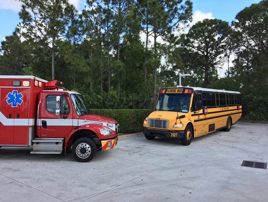 A St. Lucie County school bus was rear-ended Monday,