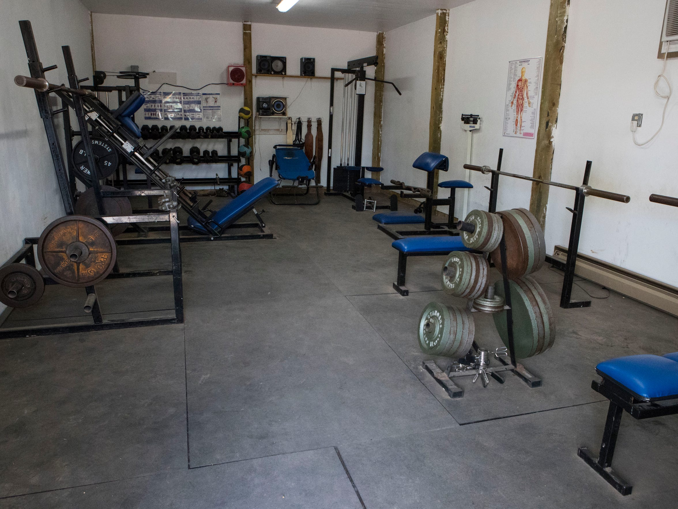 The weight room at Oelrichs High School Tuesday, July