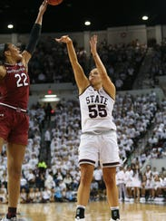 Mississippi State's Chloe Bibby (55) hits a shot in