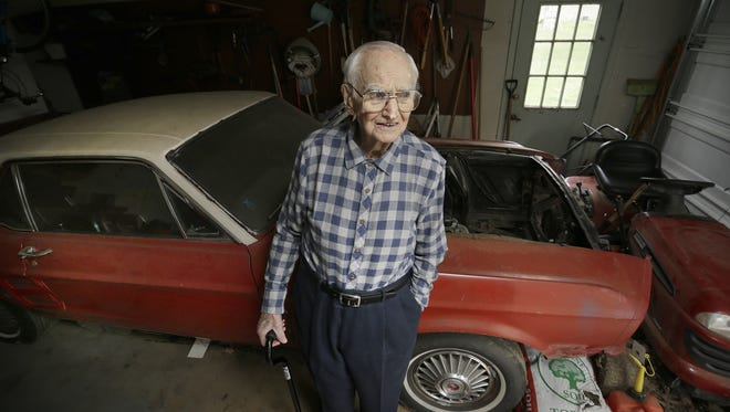 Harry Donovan and his stripped out 1967 Mustang. He was a victim of a mechanic who took his car and money, then stripped car and dumped the car.