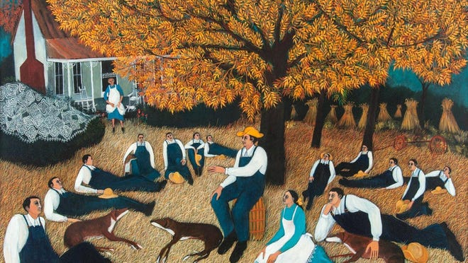 """Art historian Karen Pope on late painter Lu Ann Barrow: """"All her works are characterized by brilliant color, strong, simply-drawn figures and humorous settings and details."""""""