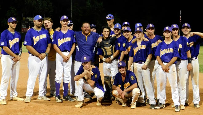 The St. Landry Bank American Legion baseball team celebrates after winning a district championship playoff game Thursday night at Church Point High. Bobby Ardoin/Special to the Daily World