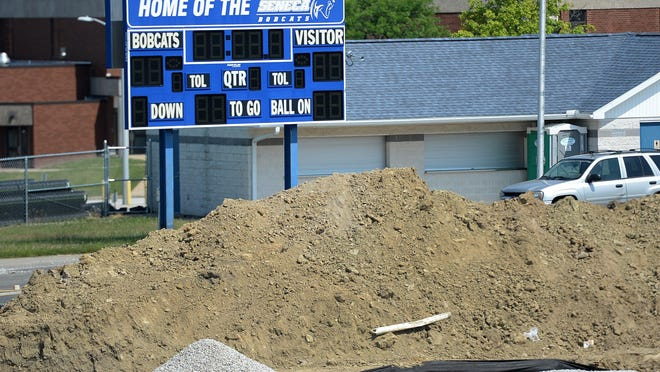 Renovations are underway July 6 at Seneca High School's Bob Diffenbacher Field. The school upgraded its football and track and field stadium, plus portions of its adjacent baseball and softball fields.