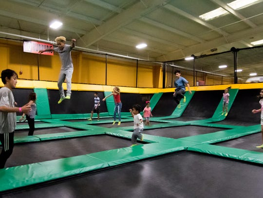 Kids of all ages have fun at Rockin' Jump trampoline