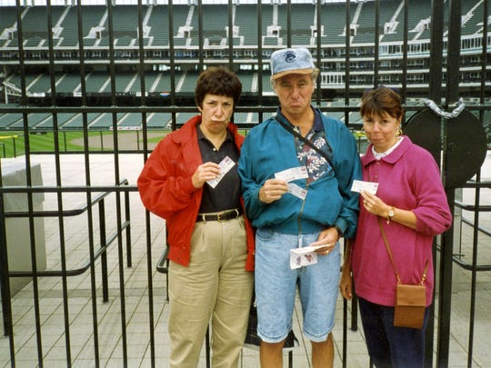 In August 1994, the two couples flew to Cleveland to see the Brewers play the Indians. But baseball went on strike that very day, and the disappointment is evident on the faces of (from left) Pat Towers, George Domrose and Cheryl Domrose.