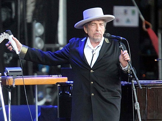 Bob Dylan performs in 2012 at the Les Vieilles Charrues festival in Carhaix, France.