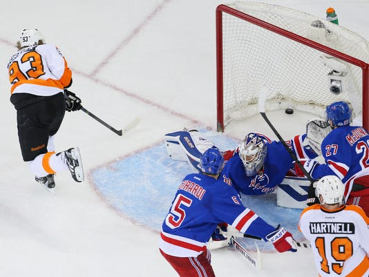 Rangers Flyers 2014 playoff series Game 2 goal