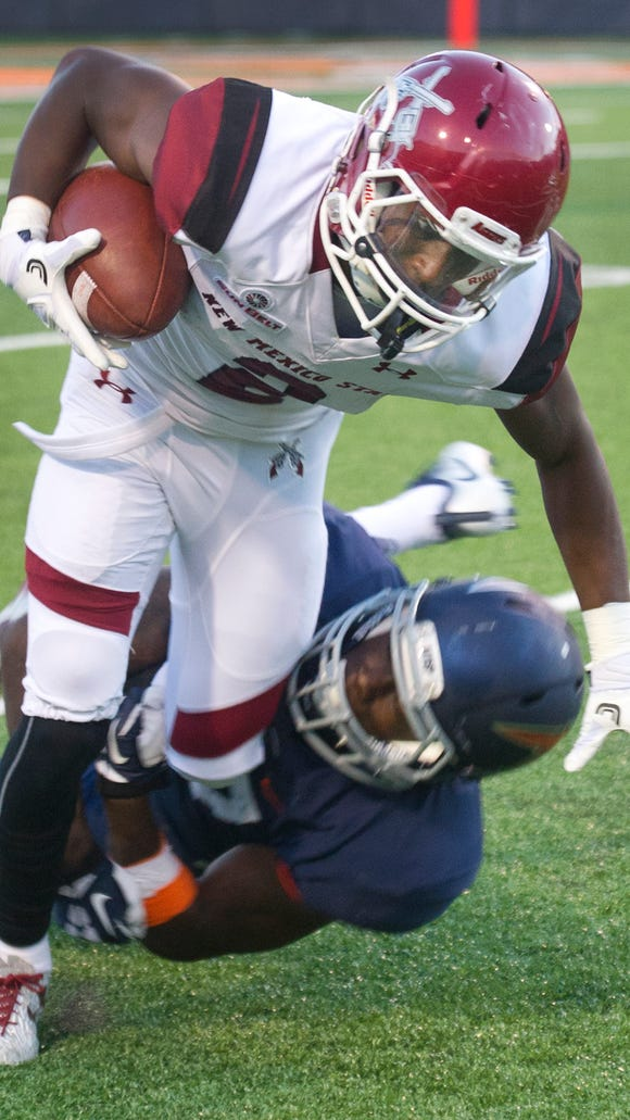 Aggies receiver OJ Clark had four catches for 41 yards against UTEP last week in his first game back after breaking his leg against the Miners last year.