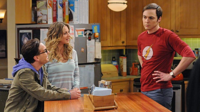 From left, Johnny Galecki, Kaley Cuoco and Jim Parsons in a scene from 'The Big Bang Theory.'