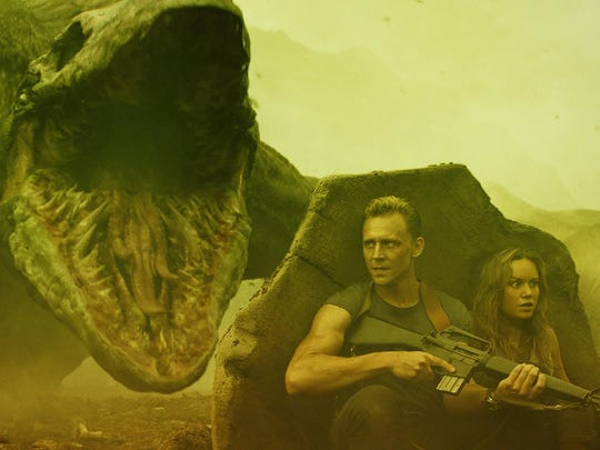 """James (Tom Hiddleston) and Mason (Brie Larson) face all kinds of creatures in """"Kong: Skull Island."""""""