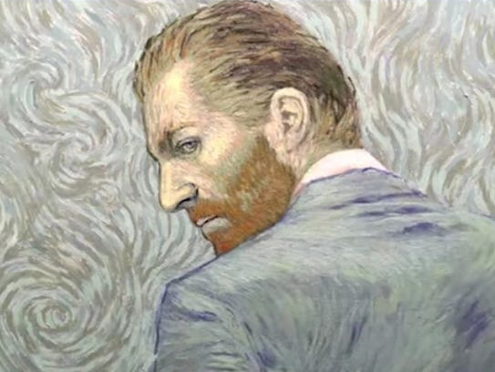 "A still from ""Loving Vincent,"" the world's first fully oil-painted animated film. Its 65,000 frames were all hand painted by over 100 artists."