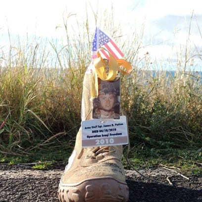 A boot memorializing U.S. Army Ranger Staff Sgt. James