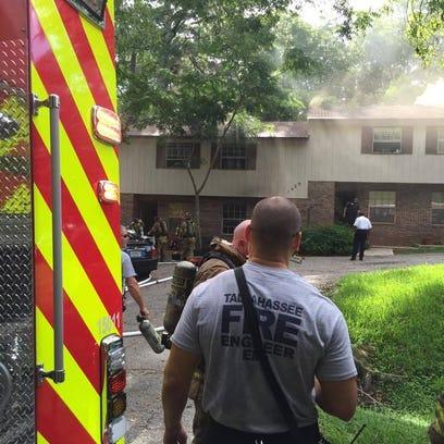 TFD battling a blaze on Fisher Lane Monday morning.