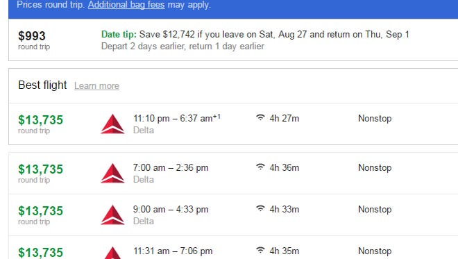 Search engines returned an unbelievable fare for a ticket between San Francisco and Detroit.