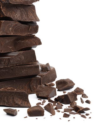 Cracked chocolate stack.