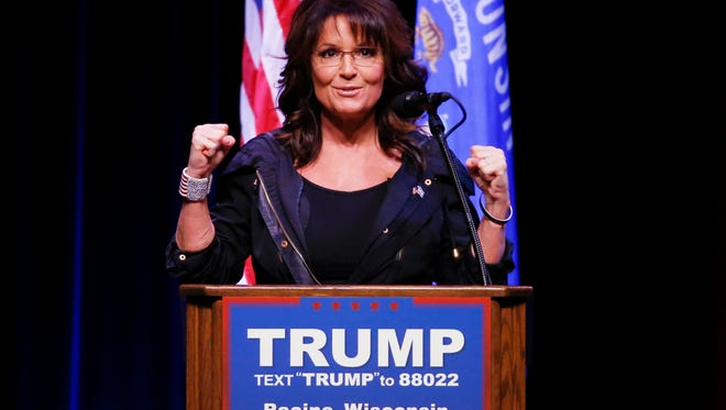 Former Gov. Sarah Palin speaks at a rally for Republican presidential candidate Donald Trump during a campaign event, Saturday, April 2, 2016, in Racine, Wisc.