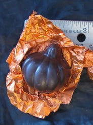 Caramel-filled chocolate pumpkins, made by Burlington-based