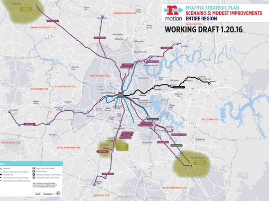 Scenario 3 of a regional transit plan for Middle Tennessee.
