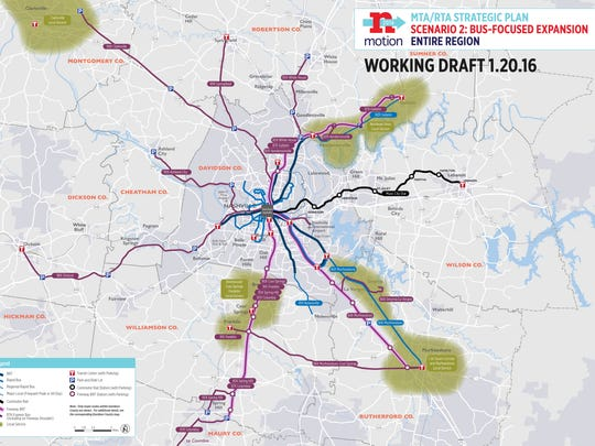 Scenario 2 of a regional transit plan for Middle Tennessee.