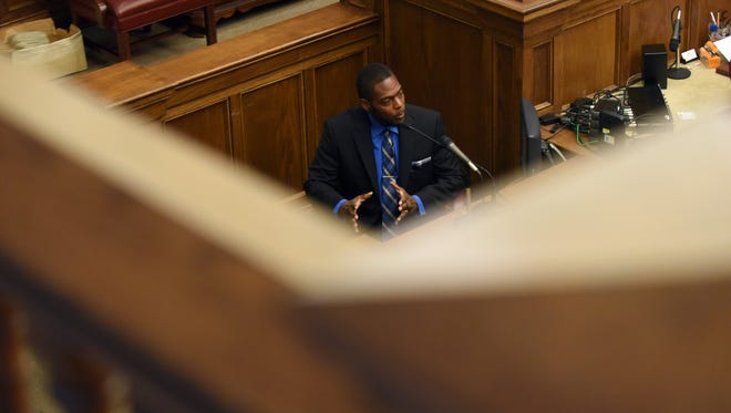 Ray Allen Thompson testifies during his trial on second-degree murder in the Forrest County Circuit Court on Wednesday.