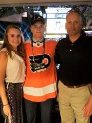 Gavin Hain, wearing his Philadelphia Flyers jersey
