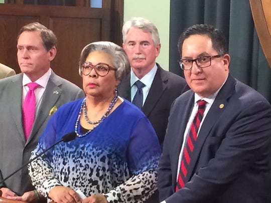 House members Larry Gonzales (right) with John Zerwas (from left), Senfronia Thompson and J.D. Scheffield, blames the Senate and Lt. Gov. Dan Patrick for the impasses on a bill governing the practice of medicine Sunday, May 28, 2017.
