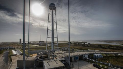 A view of the now-repaired launchpad at Wallops Flight Facility.