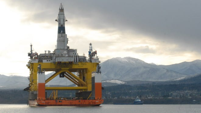The floating oil-drilling platform Polar Pioneer  near Port Angeles, Wash. Such equipment is a costly investment.