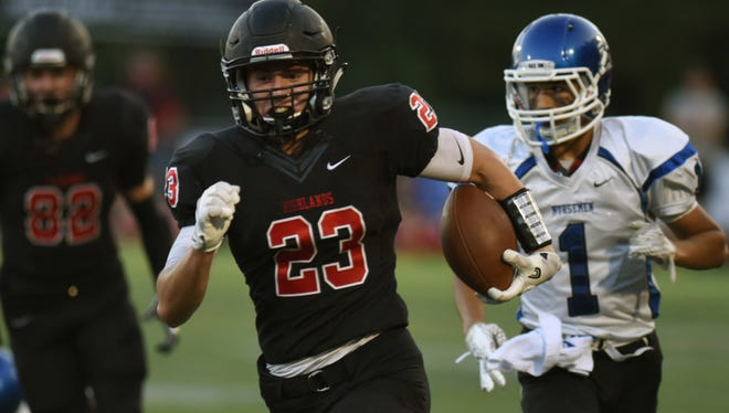 Northern Highlands' Jordan Mapes (23) had a sack, forced fumble and 79-yard touchdown reception against Mahwah.