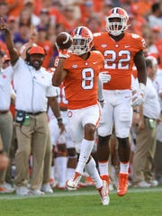Clemson defensive back A.J. Terrell (8) reacts after intercepting a Boston College pass during the 4th quarter on Saturday, September 23, 2017 at Clemson's Memorial Stadium.