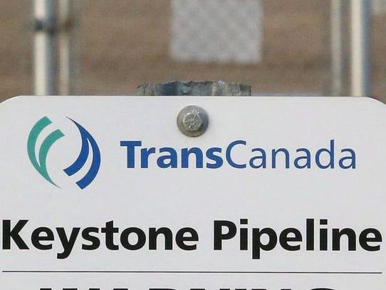 A sign for TransCanada's Keystone pipeline facilities