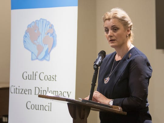2018 International Women of Courage awardee Dr. Feride Rushiti, of Kosovo, speaks during the Women of Courage event hosted by the Gulf Coast Citizen Diplomacy Council and the Institute for Women in Politics of Northwest Florida in Pensacola on Tuesday, March 27, 2018.
