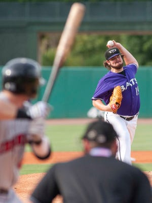 Louisville Bats starting pitcher David Holmberg throws as the Bats take on the Indianapolis Indians. 29 June 2014