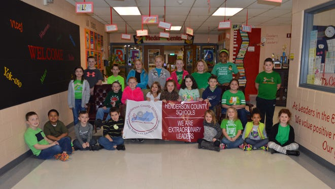 East Heights Elementary's February leaders of the month are, front row from left: Mason Collins, Javian Young, Beckham Womack, Mason Hains, Audryna Risley, Regan Potts, Zoie Pierre and Ruby Reynolds. Middle row: Addyson Deep, Peyton Turley, Kate Bailey, Eden Duff, Aubree Ridener, Kaydee Townsend, Nate Gold, Audrey Billings and Kaleb Nelson. Back row: Evan Henshaw, Nathan Boaz, Mikaela Humphrey, Madison Fields, Maggie Hollis, Ara Browder and Jasmine Satcher.