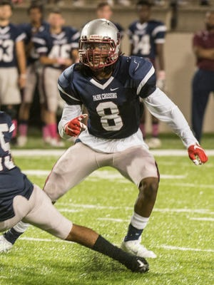 Park Crossing safety P.J. Blue (#8) as Park Crossing takes on Carver on Friday, Oct. 9, 2015, at Cramton Bowl in Montgomery.