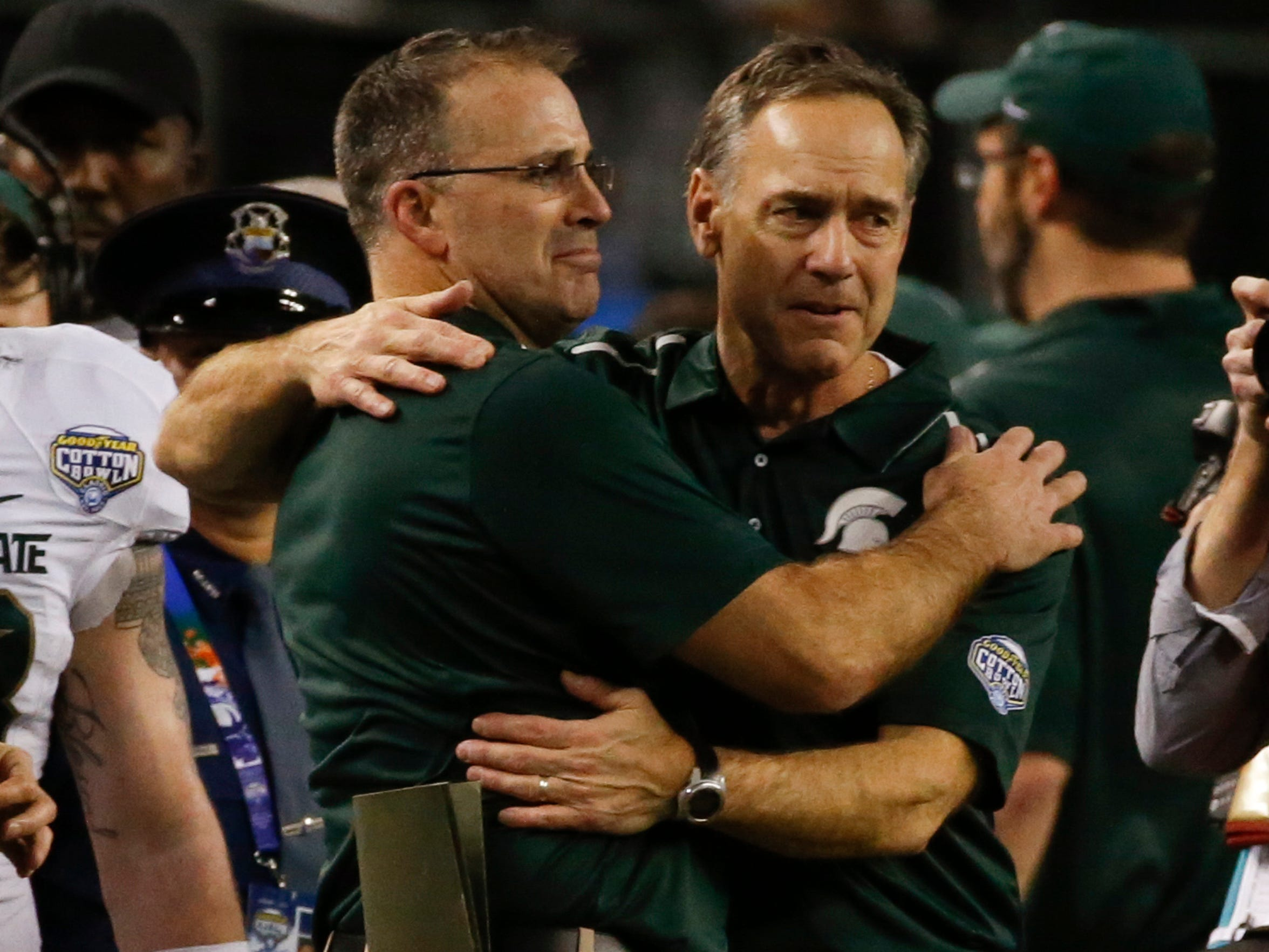 Pat Narduzzi and Mark Dantonio in their final game as co-workers on Jan. 1.