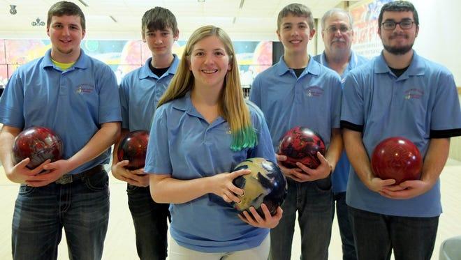 The Southern Door I bowling team, from left to right, Austen Vandertie, Aric Moore, McKenzie Sperber, Dalton Everard, coach Andy Hartel and Richard Benzshawel