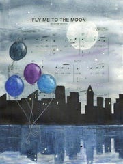 """Darlene Stephenson's """"Fly Me to the Moon"""" will be at Electric City Coffee on Friday. Stephenson uses old family photos and old sheet music behind her paintings."""