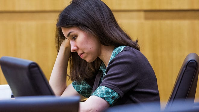 Jodi Arias looks down in Maricopa County Superior Court in Phoenix on Oct. 27, 2014.